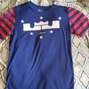 Nike lebron james red, white and blue tee-shirt